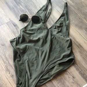 Misguided One Piece Green SwimSuit